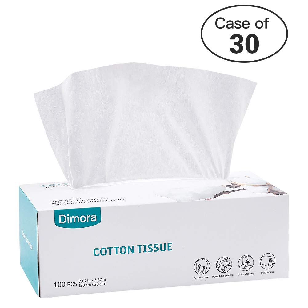 Case of 30,Dimora Large Size Facial Cotton Tissue, Unscent Dry Cleansing Cloth Wipes for Sensitive Skin, 100 Pcs/Box
