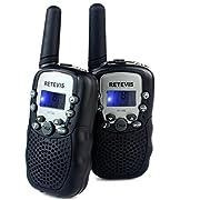 #LightningDeal 83% claimed: Retevis RT-388 Kids Walkie Retevis RT-388 Kids Walkie Talkies UHF 462.5625-467.7250MHz VOX 22CH Portable FRS/GMRS 2 Way Radio with Flashlight (Black, 1 Pair)