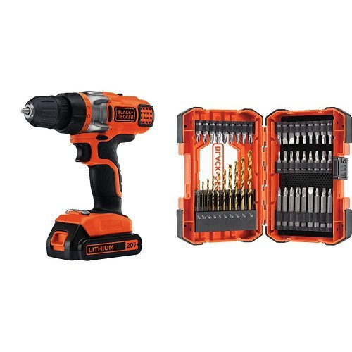 Black & Decker LDX120C 20-Volt MAX Lithium-Ion Cordless Drill/Driver w/ Drilling and Screwdriving Set