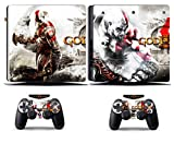 Cosines PS4 Slim Stickers Vinyl Decal Protective Console Skins Cover for Sony Playstation 4 Slim and 2 Controllers God of War GOW Kratos