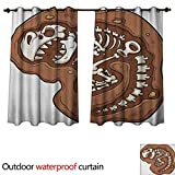 Dinosaur Outdoor Ultraviolet Protective Curtains TRex Fossil in The Ground Clip Art Style Dead Bones Archeology Prehistory Theme W108 x L72(274cm x 183cm) -  Anshesix