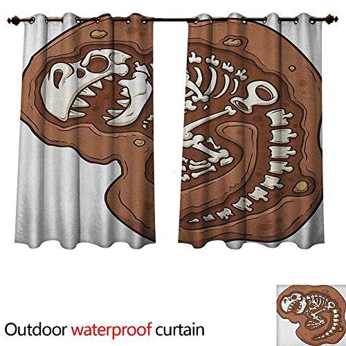 Twill Clip (Dinosaur 0utdoor Curtains for Patio Waterproof TRex Fossil in The Ground Clip Art Style Dead Bones Archeology Prehistory Theme W84 x L72(214cm x 183cm))