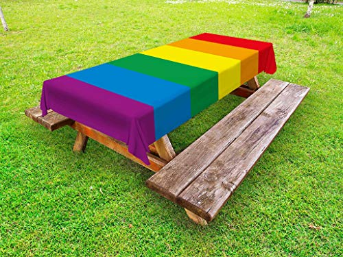 Ambesonne Pride Outdoor Tablecloth, Horizontal Rainbow Colored Flag of Gay Parade Freedom Equality Love Passion Theme, Decorative Washable Picnic Table Cloth, 58