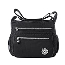 Tibes Fashion Women Nylon Shoulder Bag Waterproof Crossbody Purse Organize Travel Messenger Bag