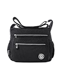 Tibes Fashion Women Nylon Shoulder Bag Waterproof Crossbody Purse Organize Travel Messenger Bag Black