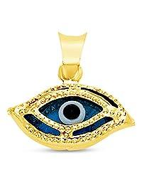 14K Yellow Gold Evil Eye Charm Pendant (7x13 mm)