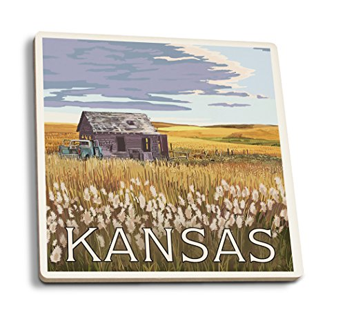 Kansas - Wheat Fields and Homestead (Set of 4 Ceramic Coasters - Cork-backed, Absorbent)
