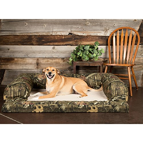 Bolstered Premium Dog Bed Removable Washable Mossy Oak Camo Taupe Fleece Dry Cover Orthopedic Foam Mattress Includes Our Exclusive Mousepad (Medium) - Exclusive Foam