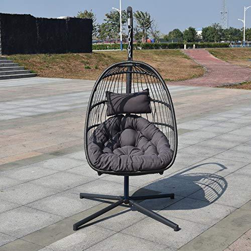 xinhuiqiong Comfortable Wicker Rib Hanging Egg Chair Outdoor Patio Swing Hanging Basket