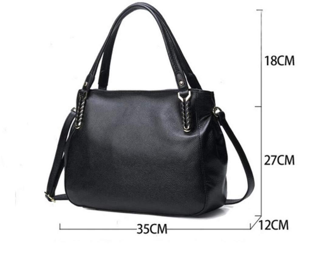 ALLHM Genuine Leather Womens Handbags Ladies Designer Satchel Tote Bag Shoulder Bags Designer Color : Black, Size : OneSize