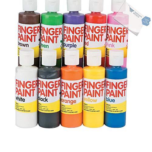 Bargain World Washable Finger Paint Set - 4 oz. (With Sticky Notes) by Bargain World