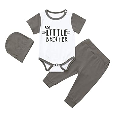 9e10e46ce Amazon.com: Mr.Macy Infant Kids Baby Boys Outfits Letter Print Romper  Jumpsuit Pants Hat Set: Clothing