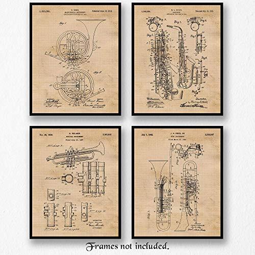Original Horn Instruments Patent Poster Prints, Set of 4 (8x10) Unframed Photos, Great Wall Art Decor Gifts Under 20 for Home, Office, Garage, Man Cave, Studio, School, Teacher, DJ Band, Rock Fan