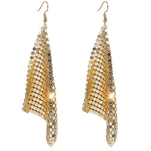 Suyi Trendy Women Earrings Metal Mesh Grid Sequins Tassel Long Drop Dangle Earrings Gold ()