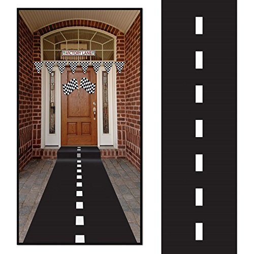 10ft Long Racetrack Floor Running Racer Party Decoration Mat Drag Race Car Road Go Kart Theme Birthday Games (2ft Wide) by Super Z -