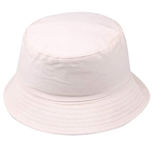 183d00d77daa94 Amazon.com: Women Men Unisex Cotton Bucket Hat, Summer UV Protection  Fisherman Hat Fashion Solid Short Brim Outdoors Sun Cap (Beige): Clothing