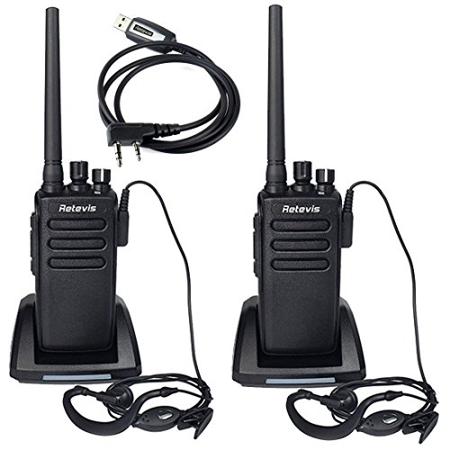Waterproof DMR Digital Two Way Radio 32 channel 10W Long Range UHF Business Radio(2 Pack) and Programming Cable(1 Pack) (32 Channel Dust Cover)