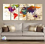 Original by BoxColors Xlarge 30''x 70'' 5 Panels 30x14 Ea Art Canvas Print Watercolor Multi Color Old Map World Push Pin Travel Wall decor ( framed 1.5'' depth ) M1816