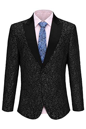 Blazer Outwear Smoking Giacca floreale Casual Fit Button D affari One  Formali Nero Uomo Da Abiti ... d72d70da18e