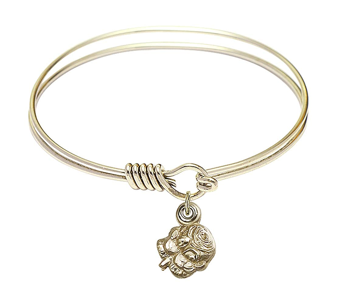 DiamondJewelryNY Eye Hook Bangle Bracelet with a Rosebud Charm.