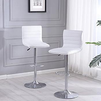 Amazon Com Belleze Modern White Pu Leather Swivel