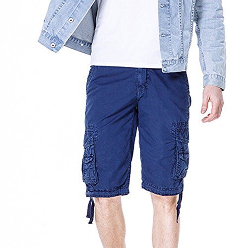 Men's Cotton Cargo Shorts Elastic Waist Loose Fit Pants Boys Summer Outdoor (32,Dark Blue) by MOACC (Image #5)