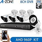 A-ZONE 8ch AHD 1080P DVR Security Camera System & 2TB Hard Drive + 4 HD 1.3 Mega-Pixels(1280x960) Outdoor CCTV Bullet Cameras Motion Detection & Alarm Push, IP67 Weather-Proof Metal