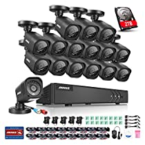 Annke 16CH Security System 1080N/720P HD-TVI DVR Recorder with 2TB Hard Drive and (16) HD 1.0MP 1280*720P CCTV Bullet Cameras, IP66 Weatherproof, Smart Search/Playback