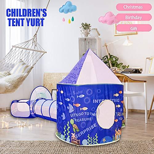 Bambini Gioca Tenda Tunnel Tenda Giocattolo Tende Pop up 3 in 1 Tenda da gioco Giocattolo da gioco all\'aperto Bambini Regali portatili Tenda Princess Castle Tenda non inclusa Palla (Blu) (blue1)