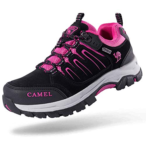 Camel Crown Men's/Women's Breathable Leather Hiking Shoes for Outdoor Camping Trekking Exploring Black/Rose red