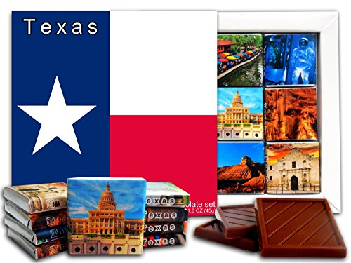 DA CHOCOLATE Candy Souvenir TEXAS State Chocolate Gift Set 5x5in 1 box (Flag)