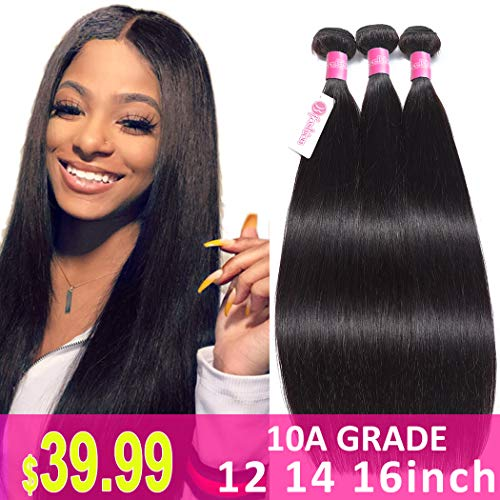 10A Remy Brazilian Human Hair Straight 12 14 16inch Brazilian Virgin Straight Hair Weave 3 Bundles 100% Unprocessed Brazilian Straight Hair Extensions Mink Hair Bundles Natural Color