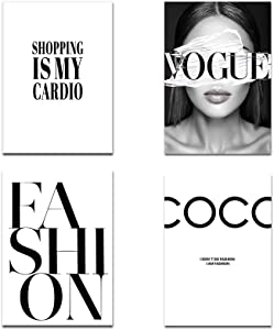 Fashion Wall Art Girl COCO Quotes Poster Wall Art Canvas Prints Unframed Black and White Vogue Pictures for Girl Bedroom Living Room Decor