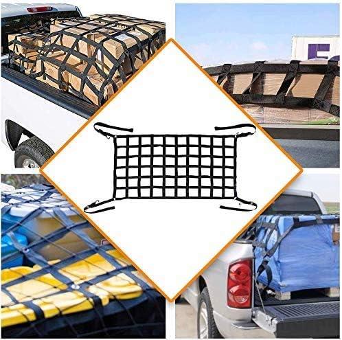 Bosmutus Cargo Net Short Truck Bed Cargo Net Heavy Duty Cargo Nets for Pickup Trucks with Cam Buckles/&S-Hooks64*50