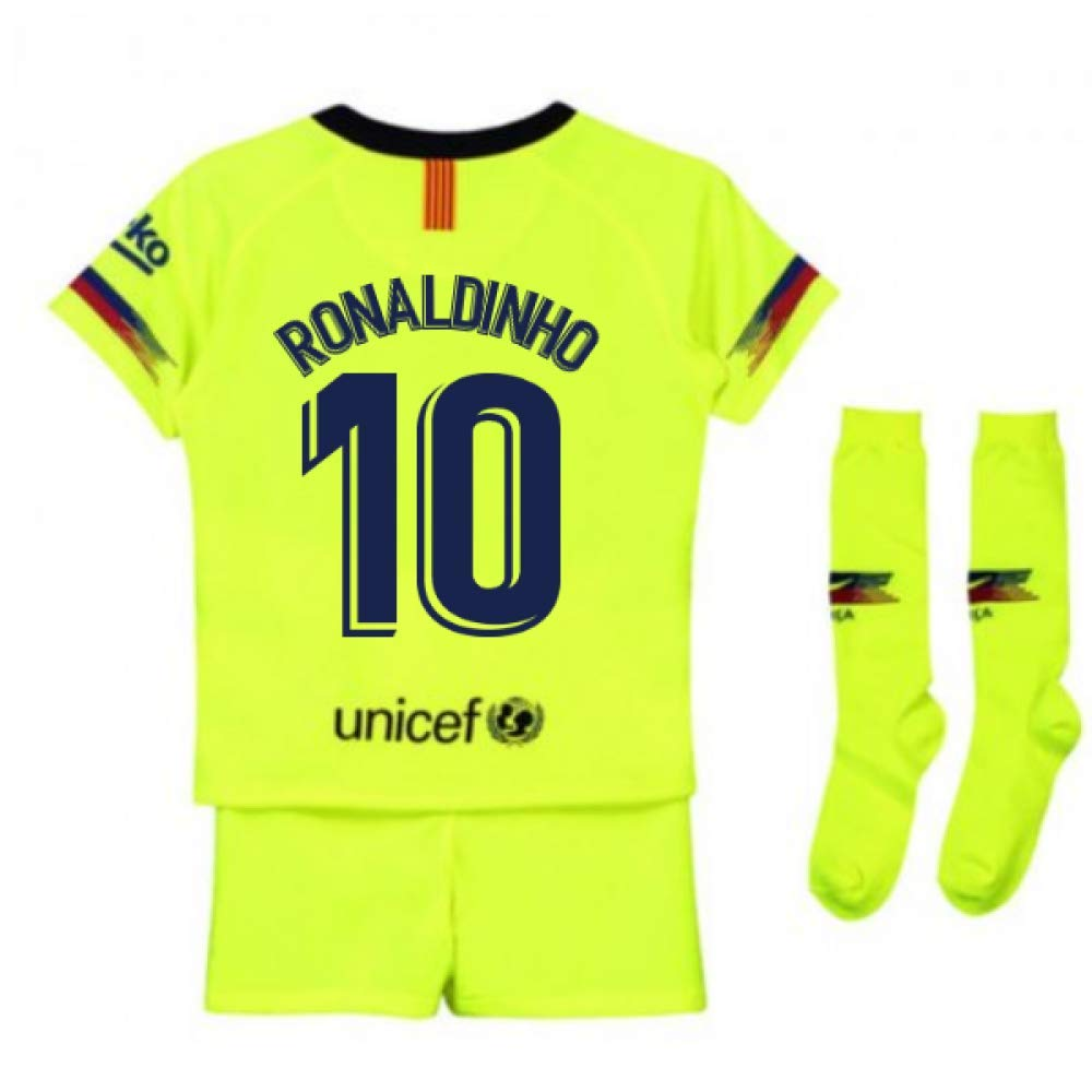 UKSoccershop 2018-2019 Barcelona Away Nike Little Boys Mini Kit (Ronaldinho 10)