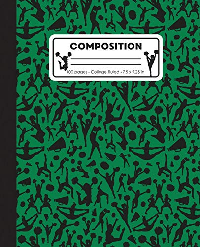 Composition: College Ruled Writing Notebook, Green Cheerleading Cheer Pattern Marbled Blank Lined Book por LilaMae Press