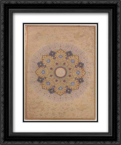 Islamic Art - 20x24 Black Ornate Frame and Double Matted Museum Art Print - Rosette Bearing The Names and Titles of Shah Jahan, Folio from The Shah Jahan ()