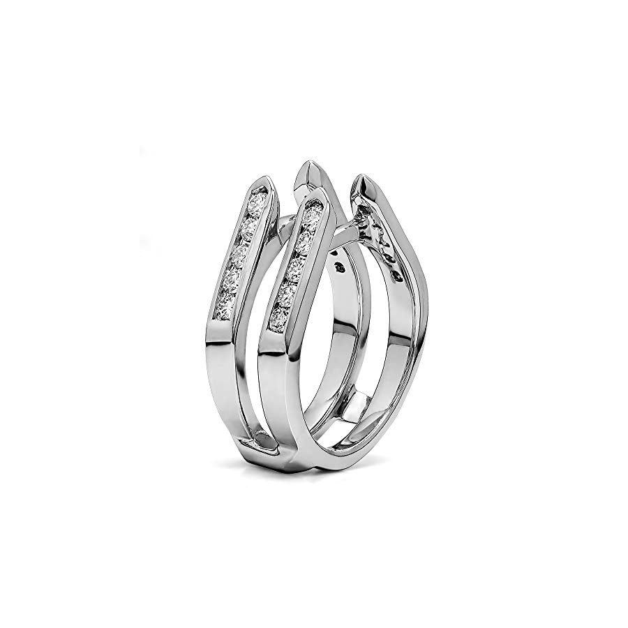 TwoBirch Sterling Silver Genuine Sapphire Channel Set Cathedral Ring Guard Diamonds G,I2 and Sapphire (0.2 ct.)