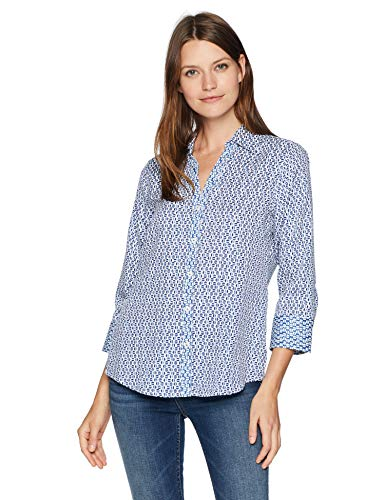 Foxcroft Women's Mary Graphic Dot Blouse, Vintage Blue, ()