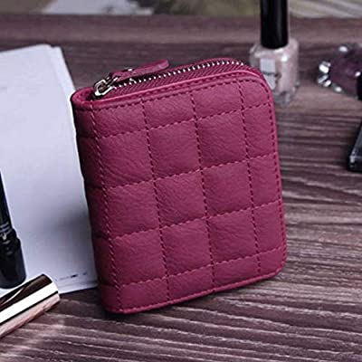 Purses Zipper Plaid Clutch Bifold Card Short Holder Wallet Leather Women (color - Red)