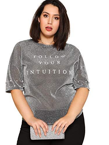 SheIn Women's Plus Size Letter Print Glitter Pearl Bead T-Shirt Top Silver 2XL (Glitter Print Top)