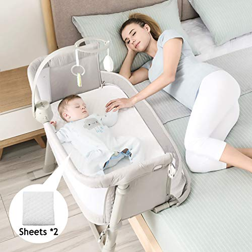 Cheapest Price! Kidsclub Baby Bedside Sleeper with 2 Replaceable Sheets, Baby Bedside Bassinet for New Born, Standalone Bassinet Side-Sleeper for Infants, Baby Nursery Bed 9 Height Adjustable for Bed Sofa