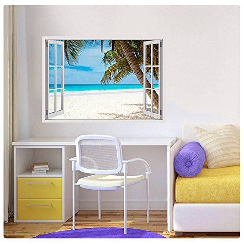 """Alonline Art - Palm On The Beach Fake 3D Window POSTER PRINTS ROLLED (Print on Fine Art PHOTO PAPER) 39""""x28"""" - 100x71cm Wall Decor Artwork Poster For Kitchen Poster For Living Room"""
