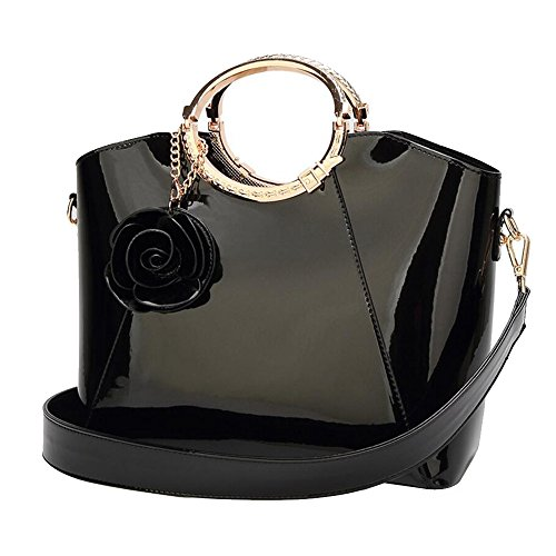JUNBOSI Female Bag Patent Leather Sequin Bucket Type Bridal Bag Evening Bag Bridal Wedding Bag Handbag PU Large Capacity Shoulder Bag (Color : Black, Size : One size) by JUNBOSI