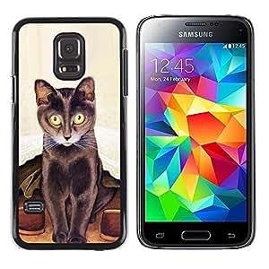 TopCaseStore / la caja del caucho duro de la cubierta de protección de la piel - Art Cat Long Whiskers Painting Brown - Samsung Galaxy S5 Mini, SM-G800, NOT S5 REGULAR!