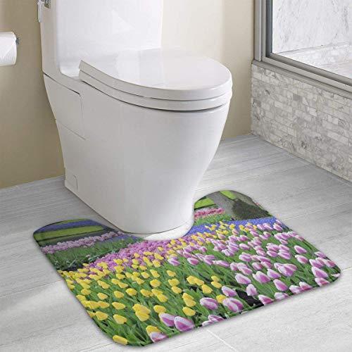 Beauregar Color Tulips U-Shaped Contour Bath Mat Bathroom Rug Mats Bathroom Carpet Nonslip Toilet Floor Mat 19.2″x15.7″