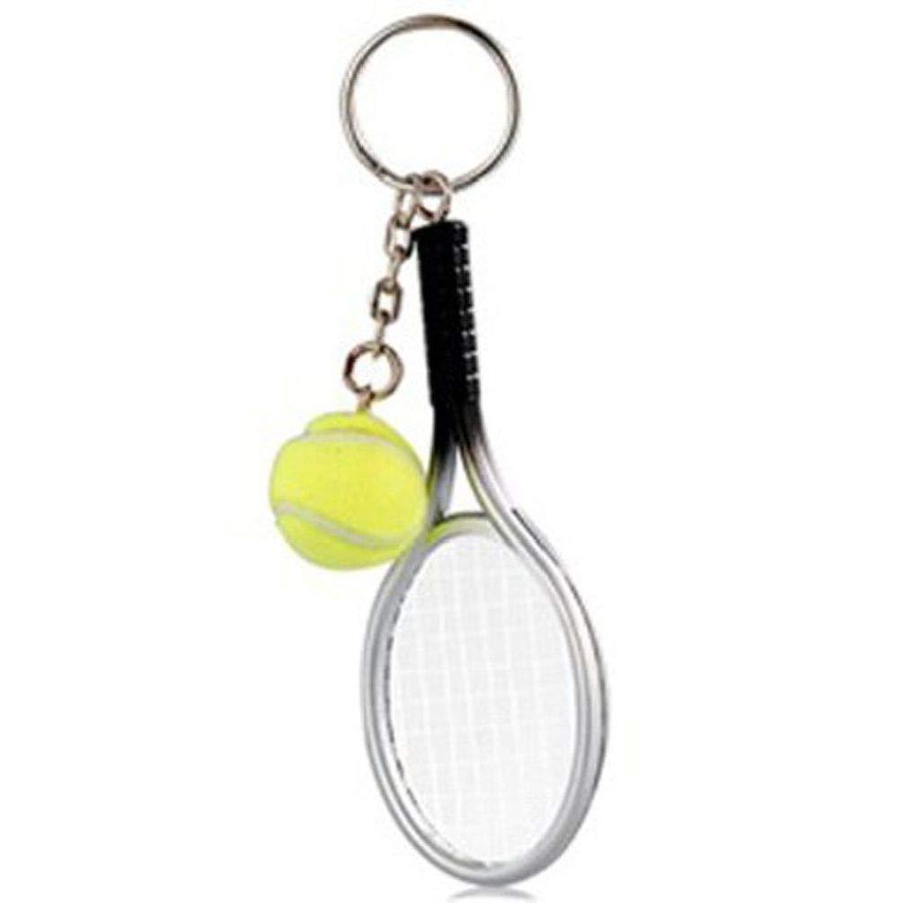 BlackC Home 2Pcs Metal Creative 3D Tennis Racket Ball Key Chain Key Ring Cute Kid Party Gift