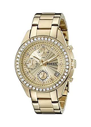 Fossil Women's ES2683 Decker Gold-Tone Stainless Steel Watch with Link Bracelet