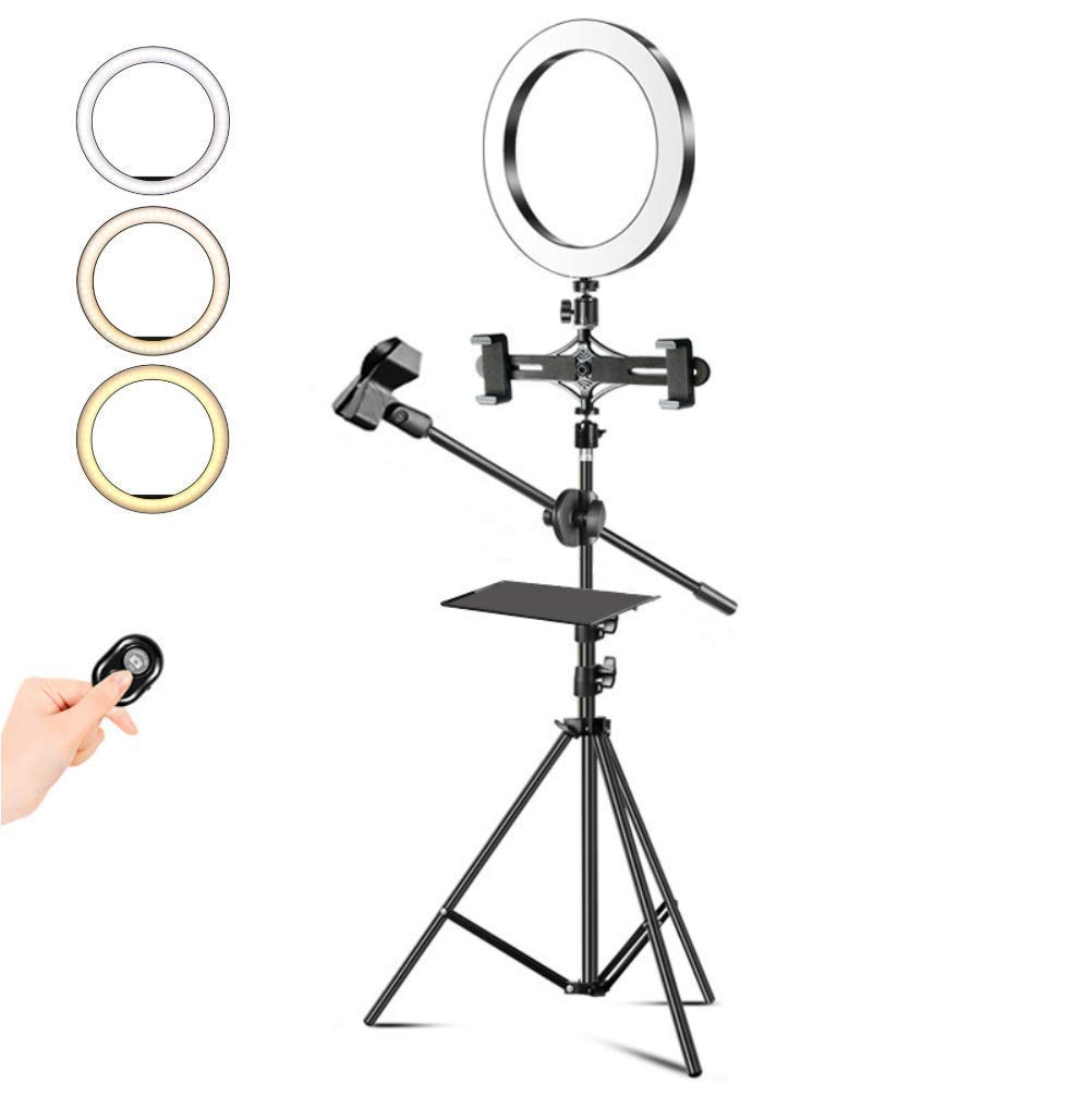 10.2'' Selfie Ring Light with Adjustable Tripod Stand & Cell Phone Holder with Shelf Mini Led Camera Light for TikTok Video and Live Makeup/Photography/12W by MSKE