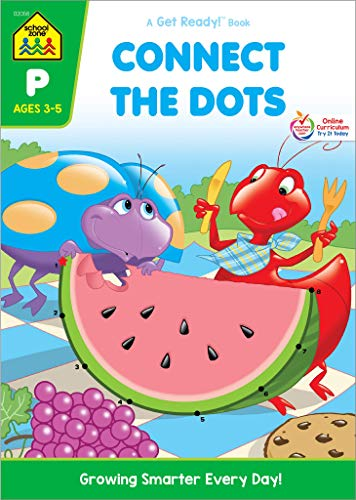 School Zone - Connect the Dots Workbook - Ages 3 to 5, Preschool to Kindergarten, Dot-to-Dots, Counting, Number Puzzles, Numbers 1-10, Coloring, and More (School Zone Get Ready!TM Book Series)]()